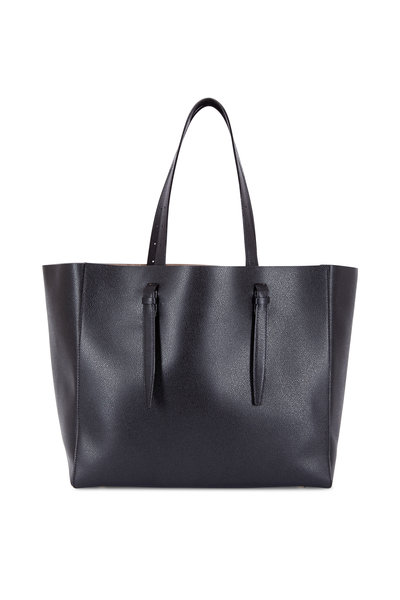 Valextra - Black Soft Leather Large Media Tote