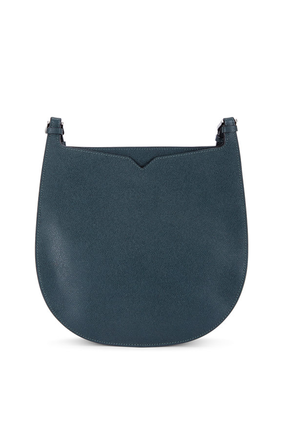 Valextra Weekend Moss Saffiano Convertible Small Hobo Bag