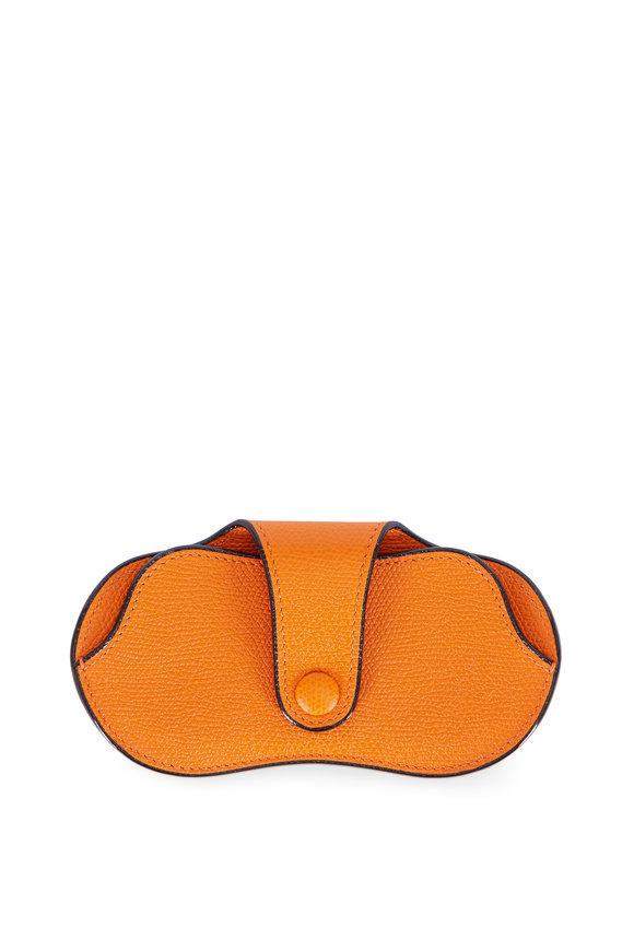 Valextra Aran Orange Saffiano Leather Eyeglass Case