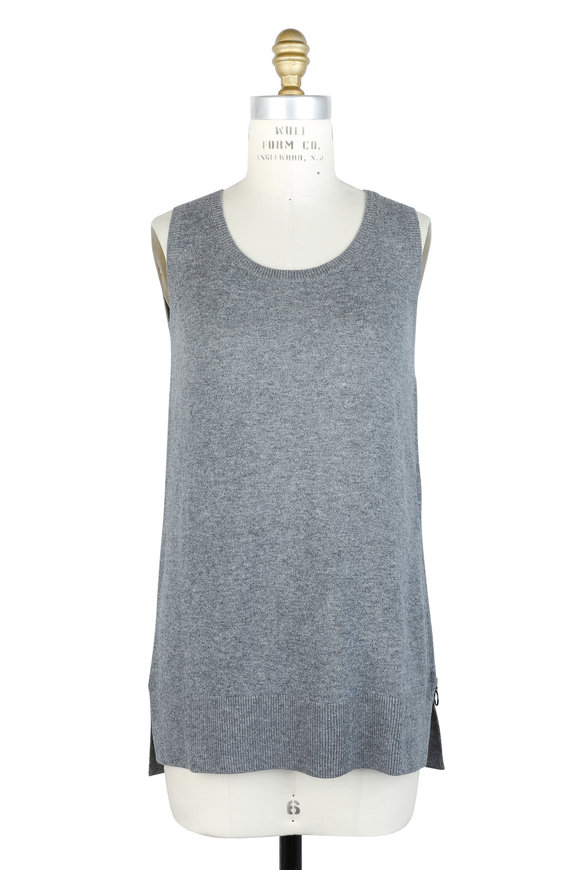 Akris Punto Stone Wool Blend Side-Zip Sleeveless Sweater