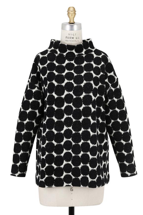 Akris Punto Black & White Dot Jacquard Stand Collar Top