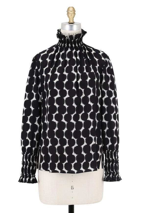 Akris Punto Black & White Printed Silk Ruffled Neck Blouse