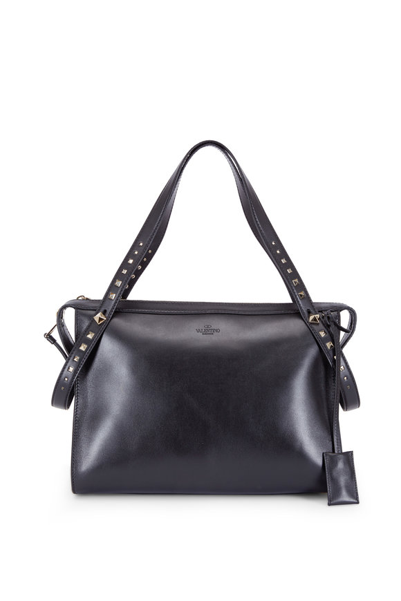 Valentino Rockstud Black Leather Convertible Duffle Bag
