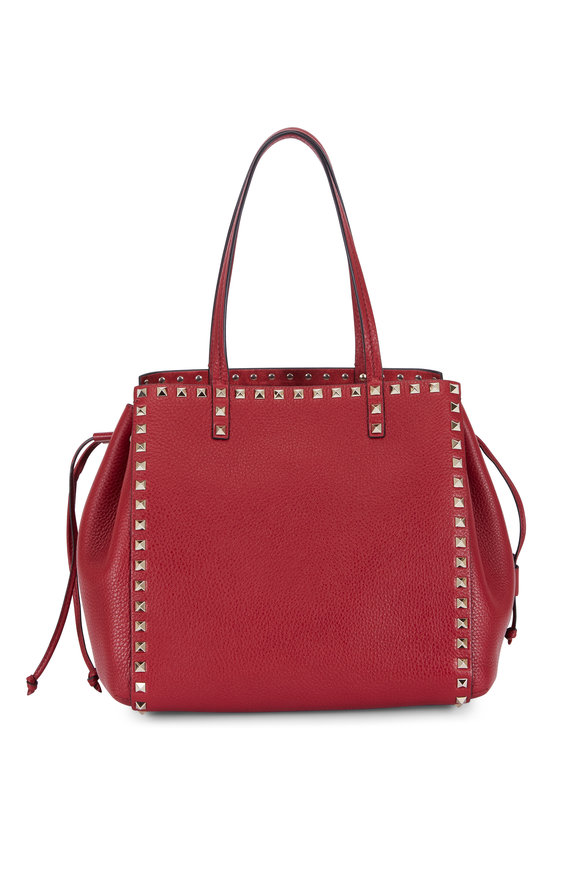 Valentino Rockstud Red Leather Drawstring Side Tote