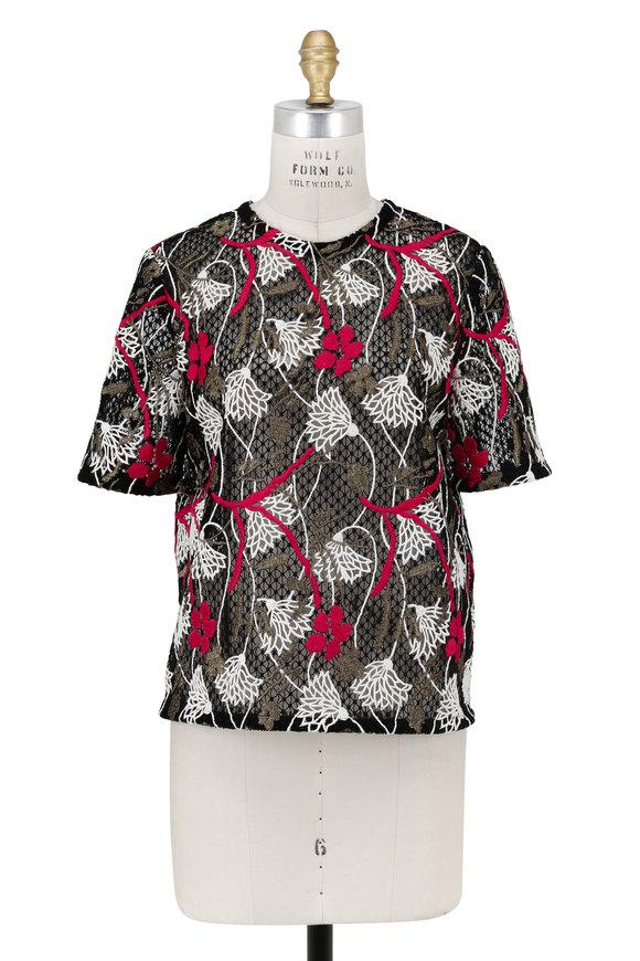 Valentino Black Lotus Guipure Lace Short Sleeve Top