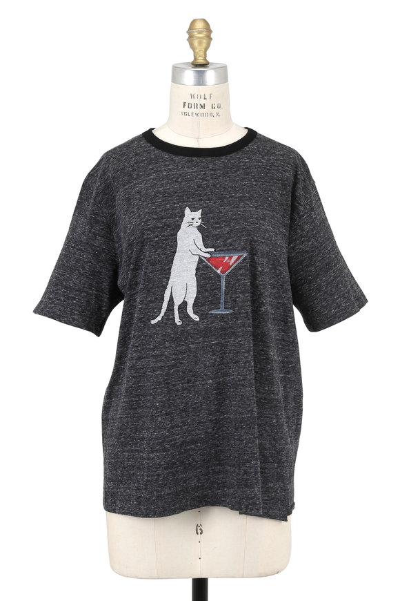Saint Laurent Heather Gray Cat & Martini Graphic T-Shirt