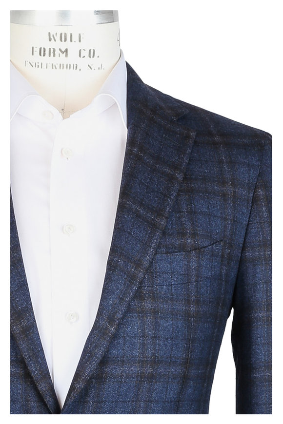 Mauro Blasi Navy Blue Plaid Wool Sportcoat