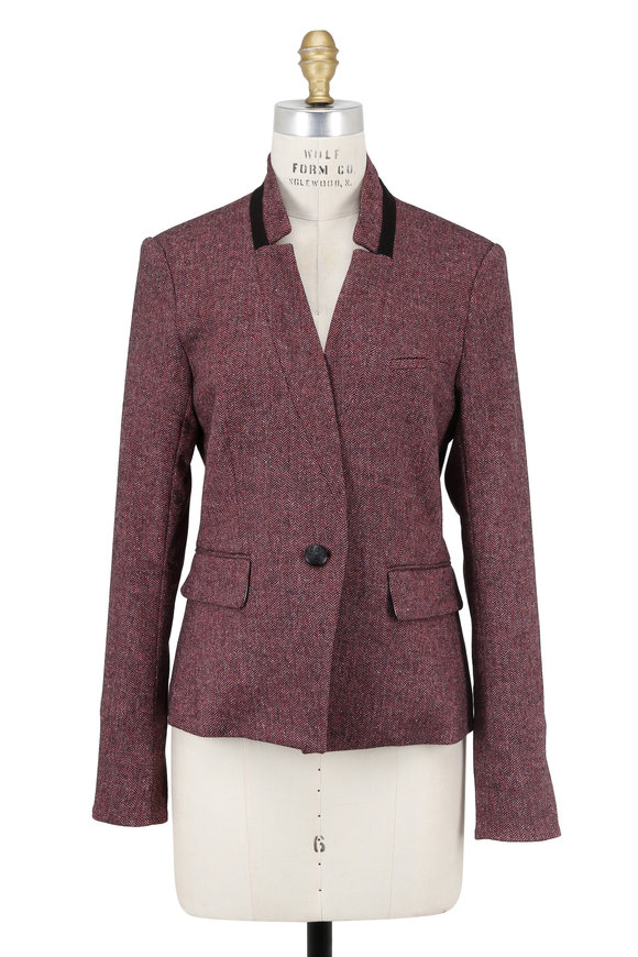 Veronica Beard Tate Upcollar Rose Herringbone Jacket