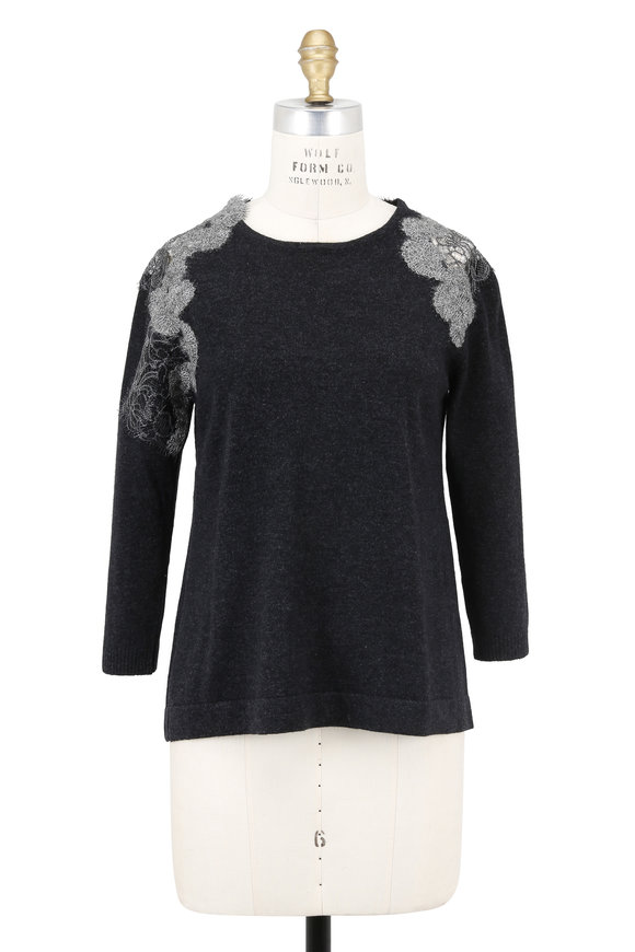 D.Exterior Charcoal Gray Cashmere Lace Trim Sweater