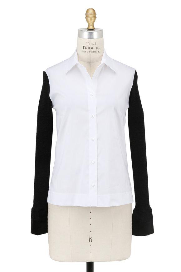 D.Exterior White & Black Knit Sleeve Blouse