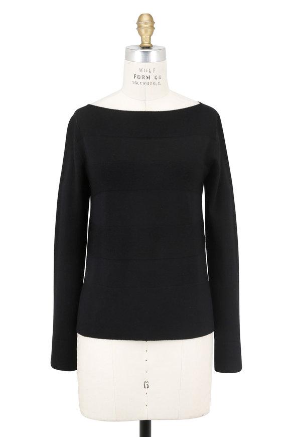 D.Exterior Black Wide Tonal Striped Bateau Neck Sweater