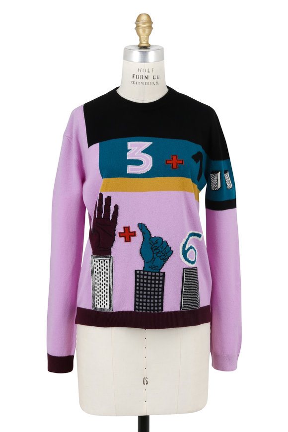Valentino Blossom Counting Number Crewneck Sweater