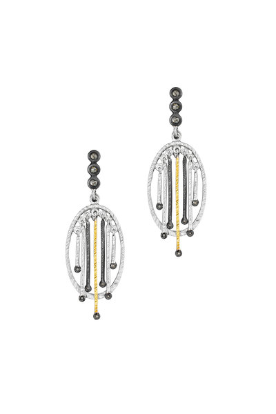 Coomi - 20K Gold & Silver Diamond Oval Stick Earrings