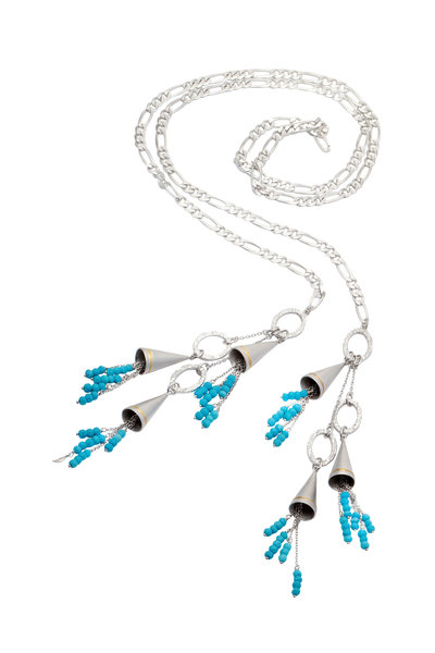Coomi - 20K Gold & Silver Turquoise Vitality Lariat