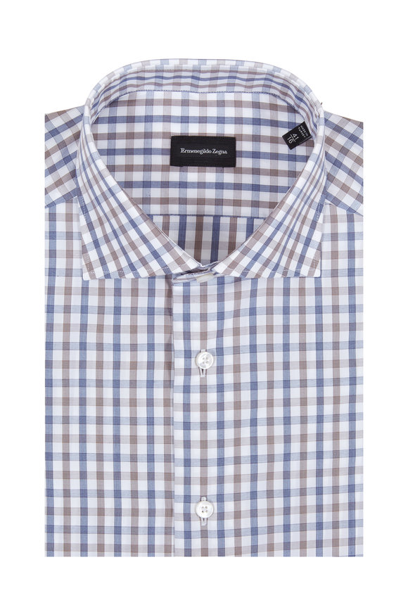 Ermenegildo Zegna Blue & Brown Check Dress Shirt