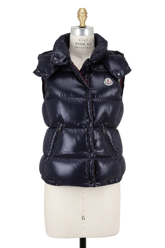 Moncler Galene Navy Blue Shiny Quilted Hooded Vest