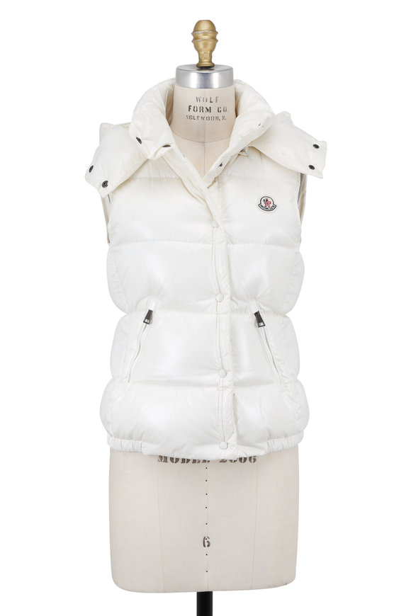 Moncler Galene White Shiny Quilted Hooded Vest