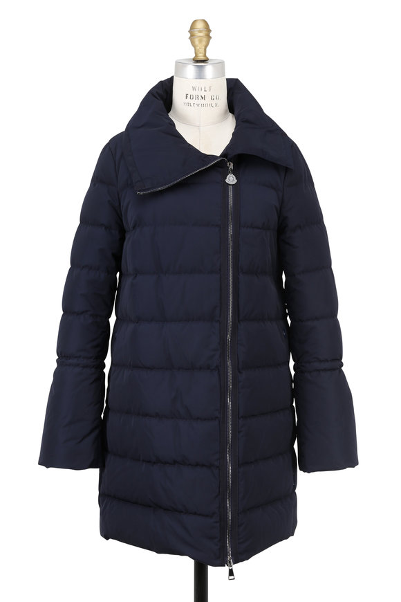 Moncler Lobelia Navy Blue Quilted Mid-Length Coat