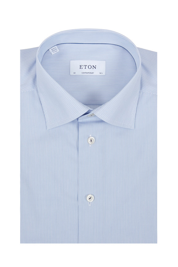 Eton Blue Fine Striped Contemporary Fit Dress Shirt