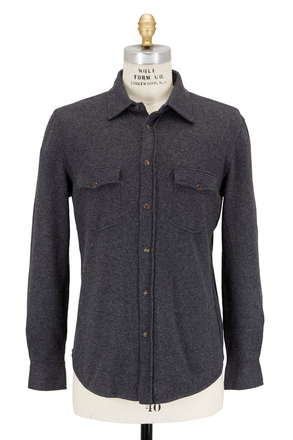 Brunello Cucinelli Charcoal Gray Wool Blend Western Sweater Shirt