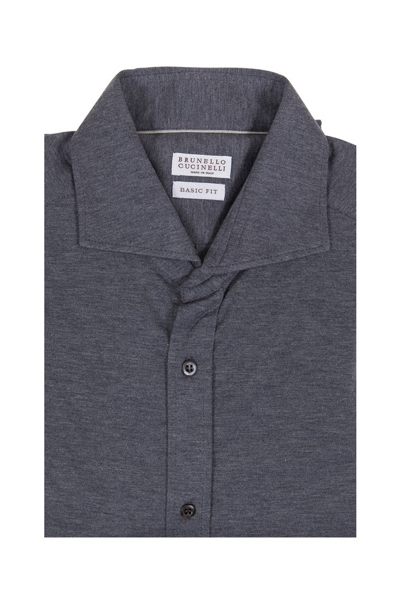 Brunello Cucinelli Gray Basic Fit Knit Sport Shirt
