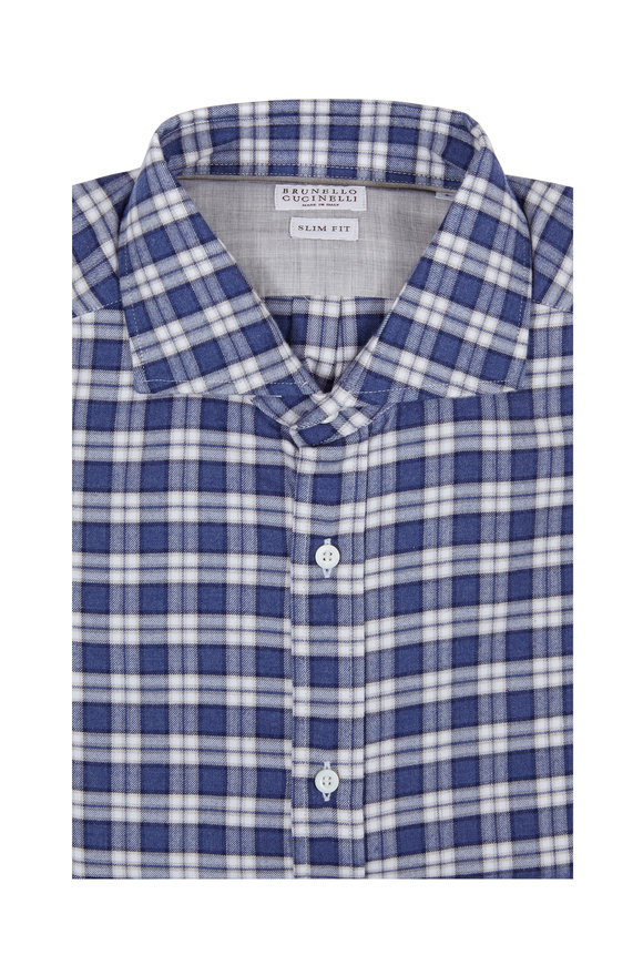 Brunello Cucinelli Blue Plaid Slim Fit Sport Shirt