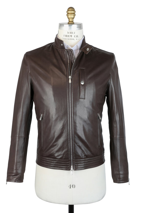 Brunello Cucinelli Chocolate Leather Moto Jacket