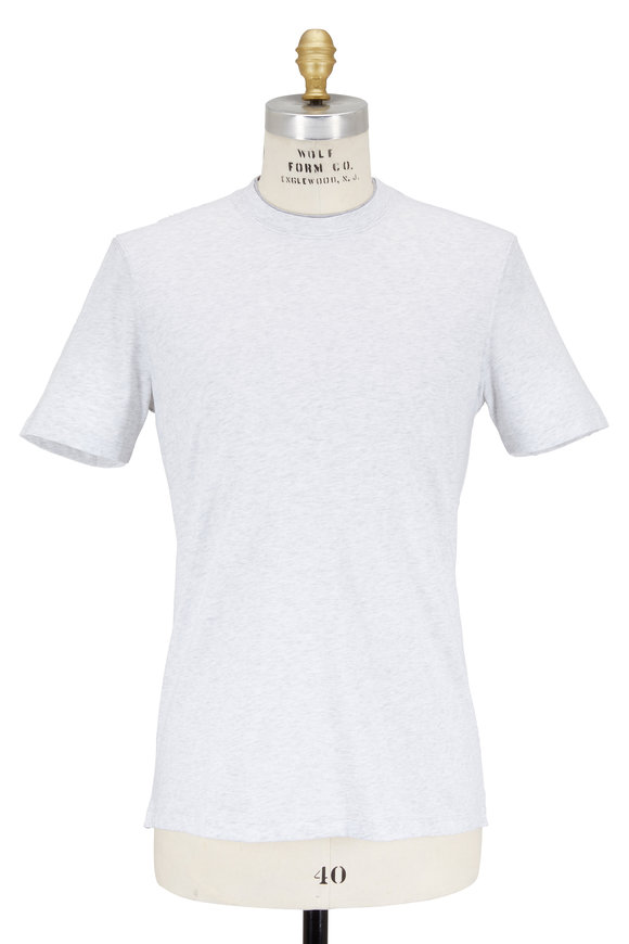 Brunello Cucinelli Light Gray Cotton Short Sleeve T-Shirt