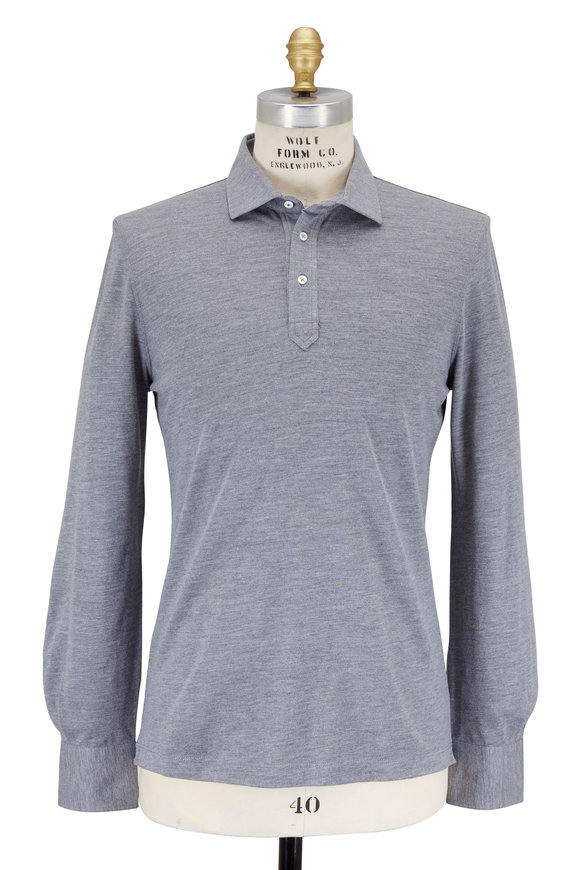 Brunello Cucinelli Medium Gray Wool & Cotton Piqué Polo