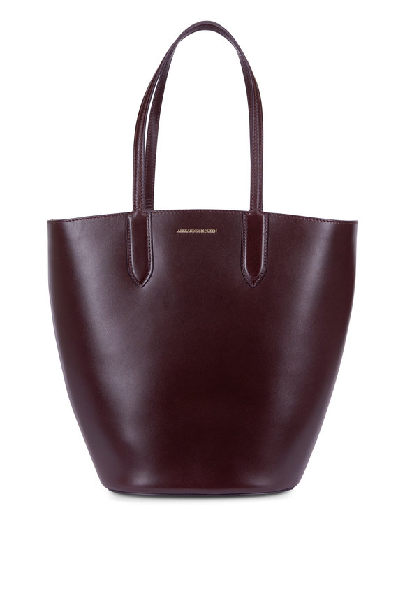 Alexander McQueen Burgundy Leather Small Basket Tote
