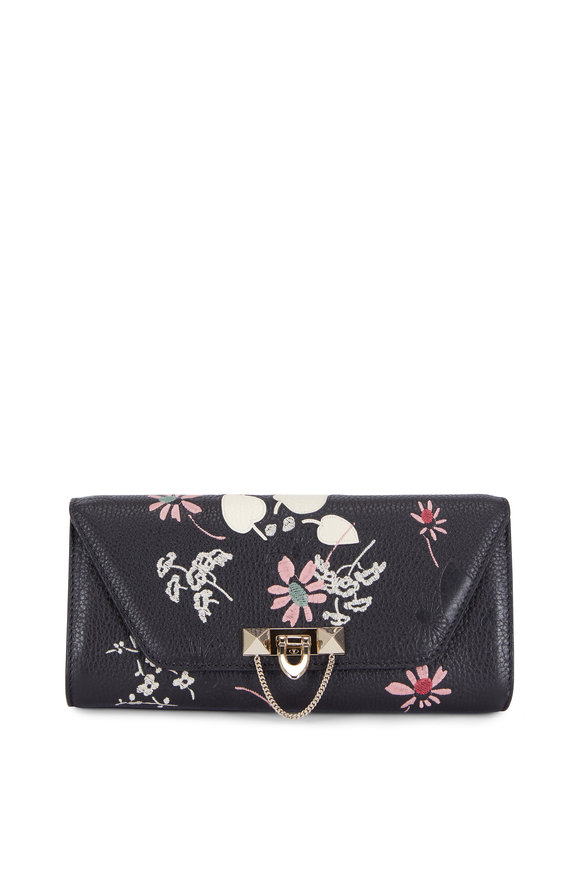 Valentino Demilune Black Leather Floral Embroidered Clutch