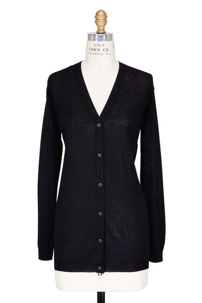 Prada - Black Cashmere V-Neck Long Cardigan