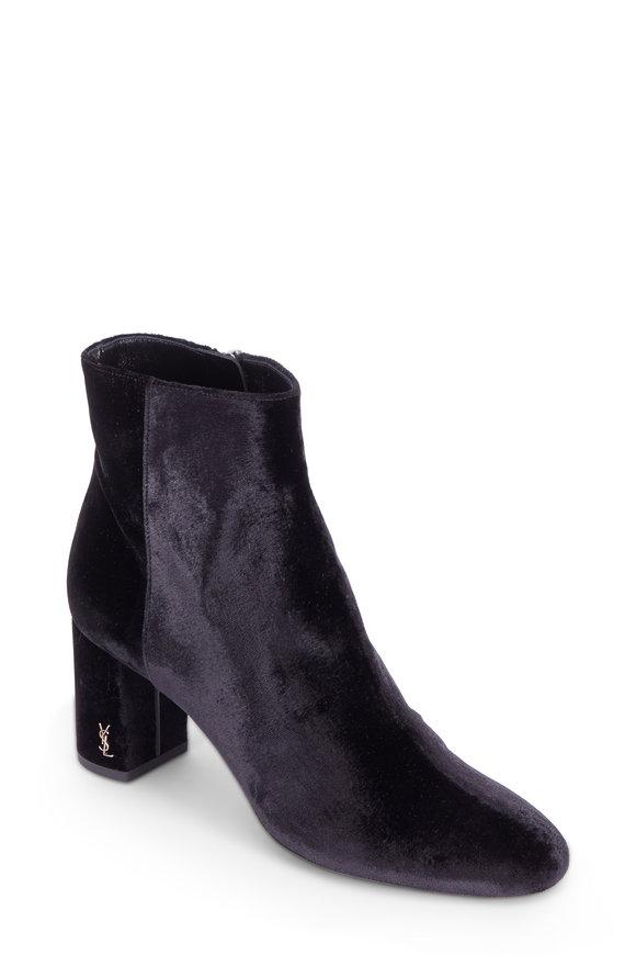 Saint Laurent Loulou Black Velvet Block Heel Boot, 70mm