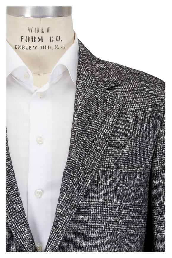Brunello Cucinelli Black & White Glen Plaid Wool Sportcoat