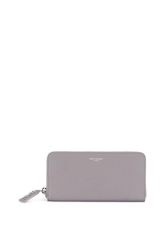 Saint Laurent Fog Grained Leather Zip-Around Wallet