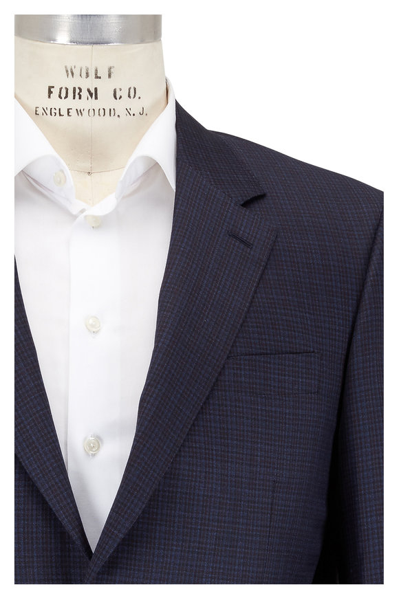 Canali Navy Blue Mini Check Wool Suit