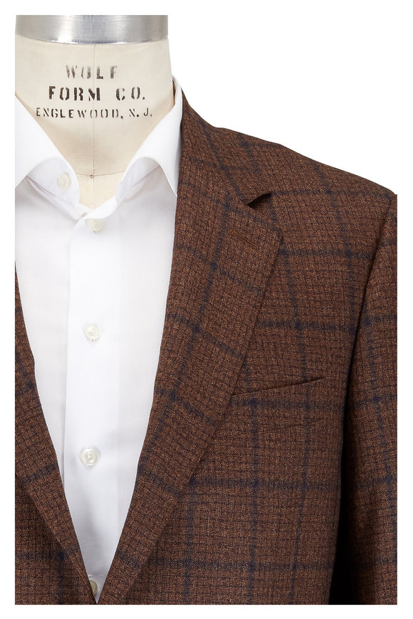 Canali Brown Windowpane Wool Sporcoat