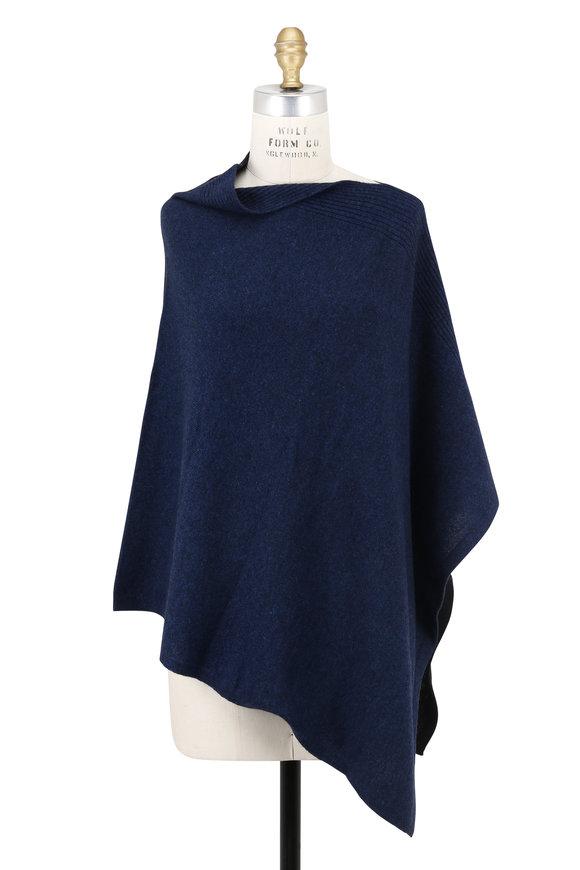 Kinross Blue & Blue Colorblock Cashmere Poncho