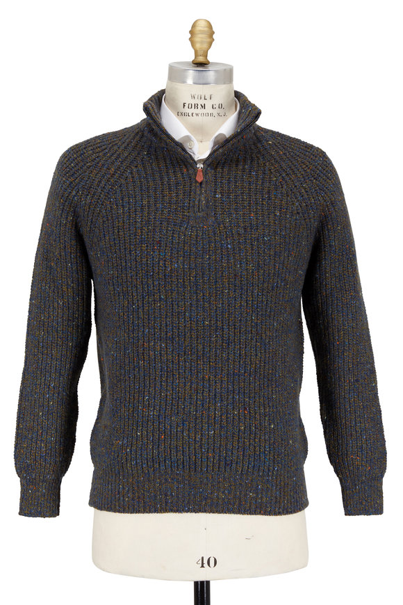 Inis Meain Knitting Co. Olive Melangé Cashmere & Wool Quarter-Zip Pullover
