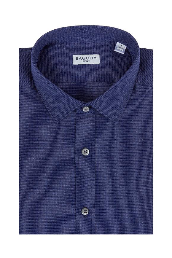 Bagutta Navy Blue Houndstooth Sport Shirt