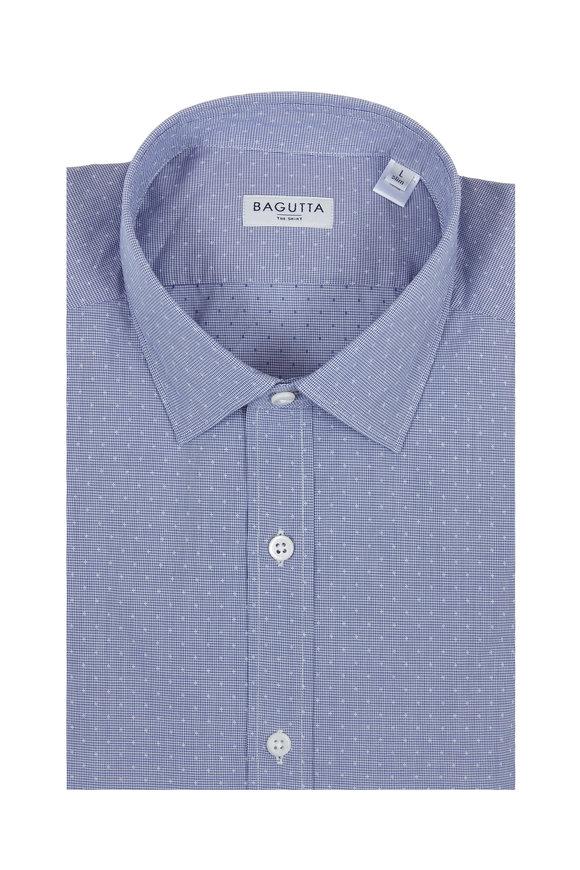 Bagutta Blue Mini Houndstooth Sport Shirt