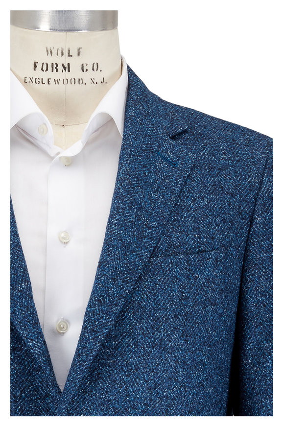 Canali Blue Herringbone Wool, Silk & Linen Sporcoat
