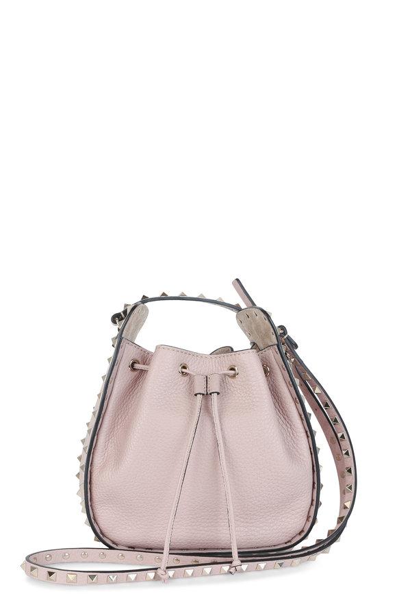 Valentino Rockstud Nude Pebbled Leather Bucket Bag