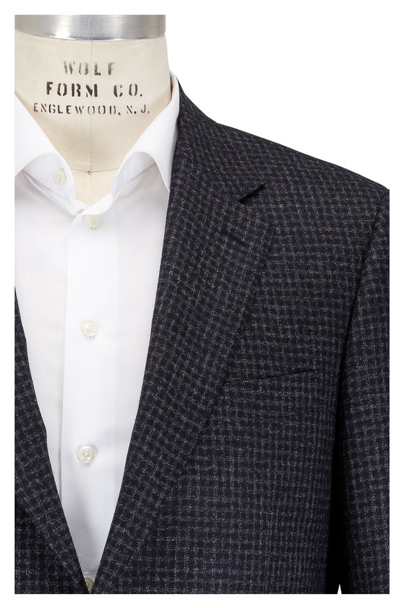 Canali Charcoal Gray Mini Check Wool Sportcoat
