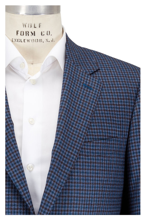 Canali Blue & Burgundy Mini Check Wool Sportcoat