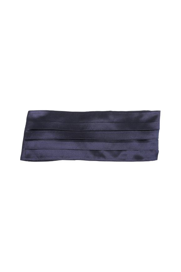 Kiton Solid sNavy Blue Silk Cummerbund Set