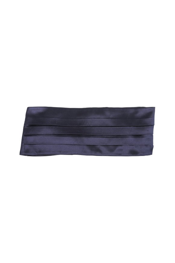 Kiton Solid Navy Blue Silk Cummerbund Set