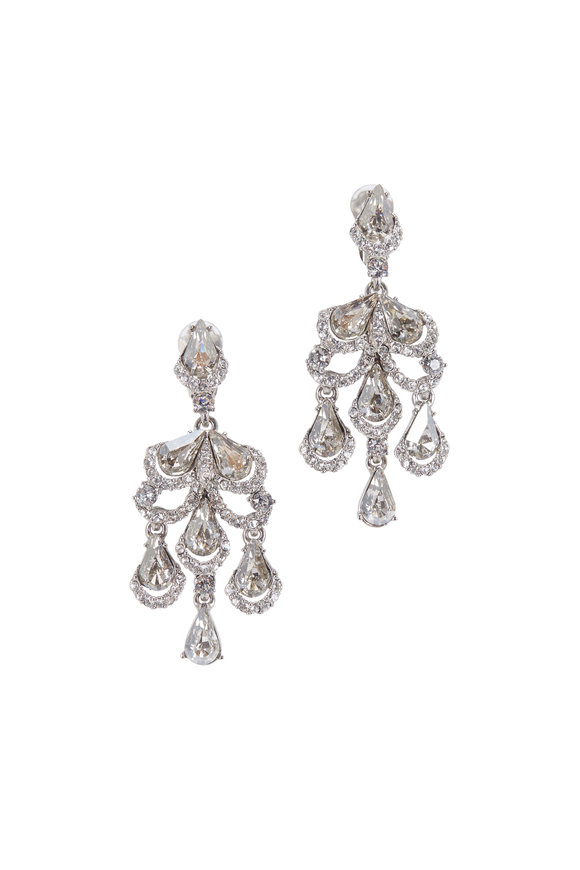 Oscar de la Renta Silver Baroque Crystal Chandelier Earrings