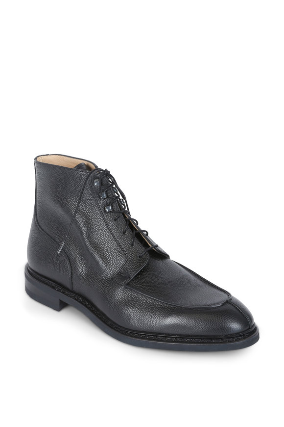 Paraboot Black Pebbled Leather Lace-Up Boot