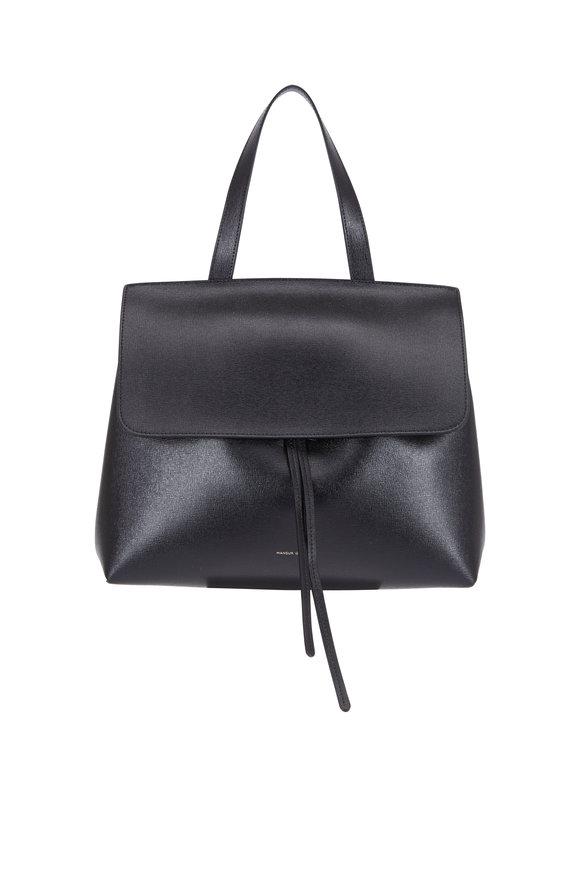 Mansur Gavriel Lady Black Saffiano Medium Top Handle Bag